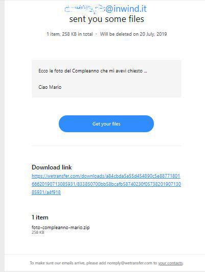 WeTransfer Cosa Riceve il Destinatario nella Email