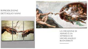 copia di opera famosa dettaglio mani la creazione di adamo di Michelangelo